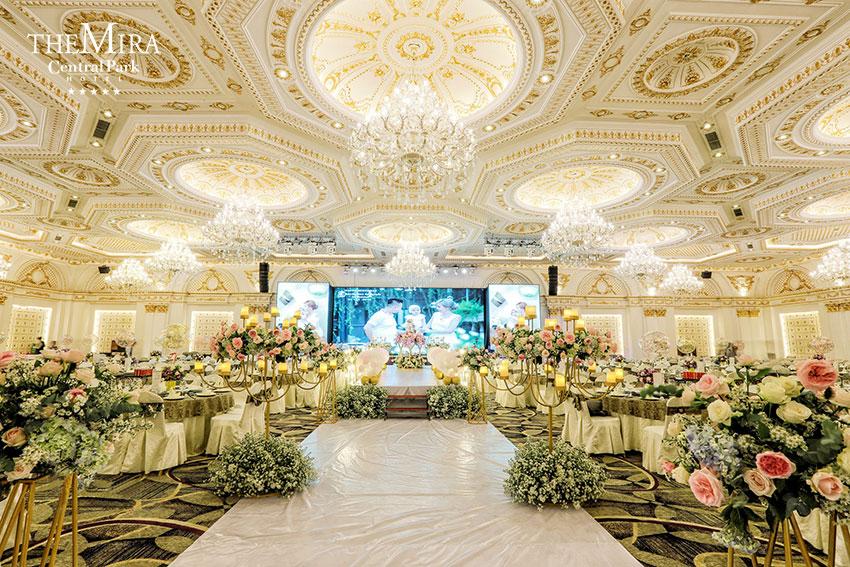 Không gian sảnh cưới the mira central park sang trọng, hiện đại